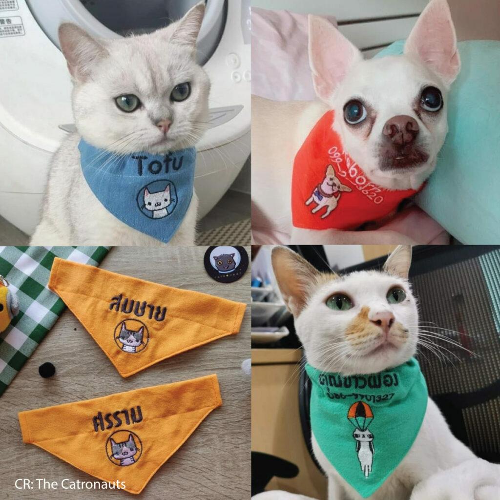 จักรปัก ปักผ้าพันคอแมว
